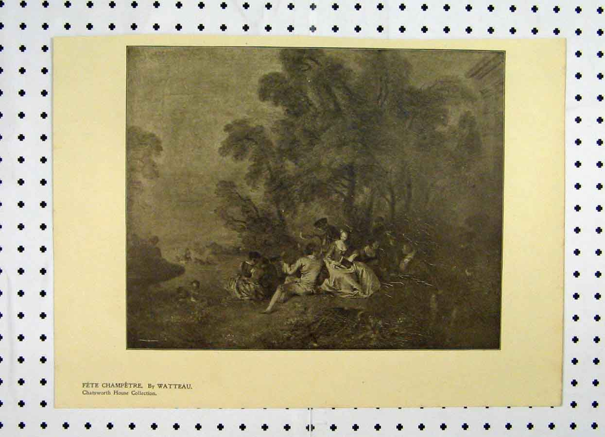 Print 1904 Fete Champetre Chatsworth Collection 178A119 Old Original
