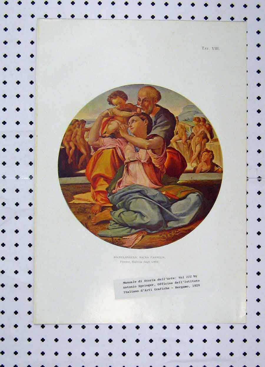 Print Colour Michelangelo Man Children Springer 186A119 Old Original