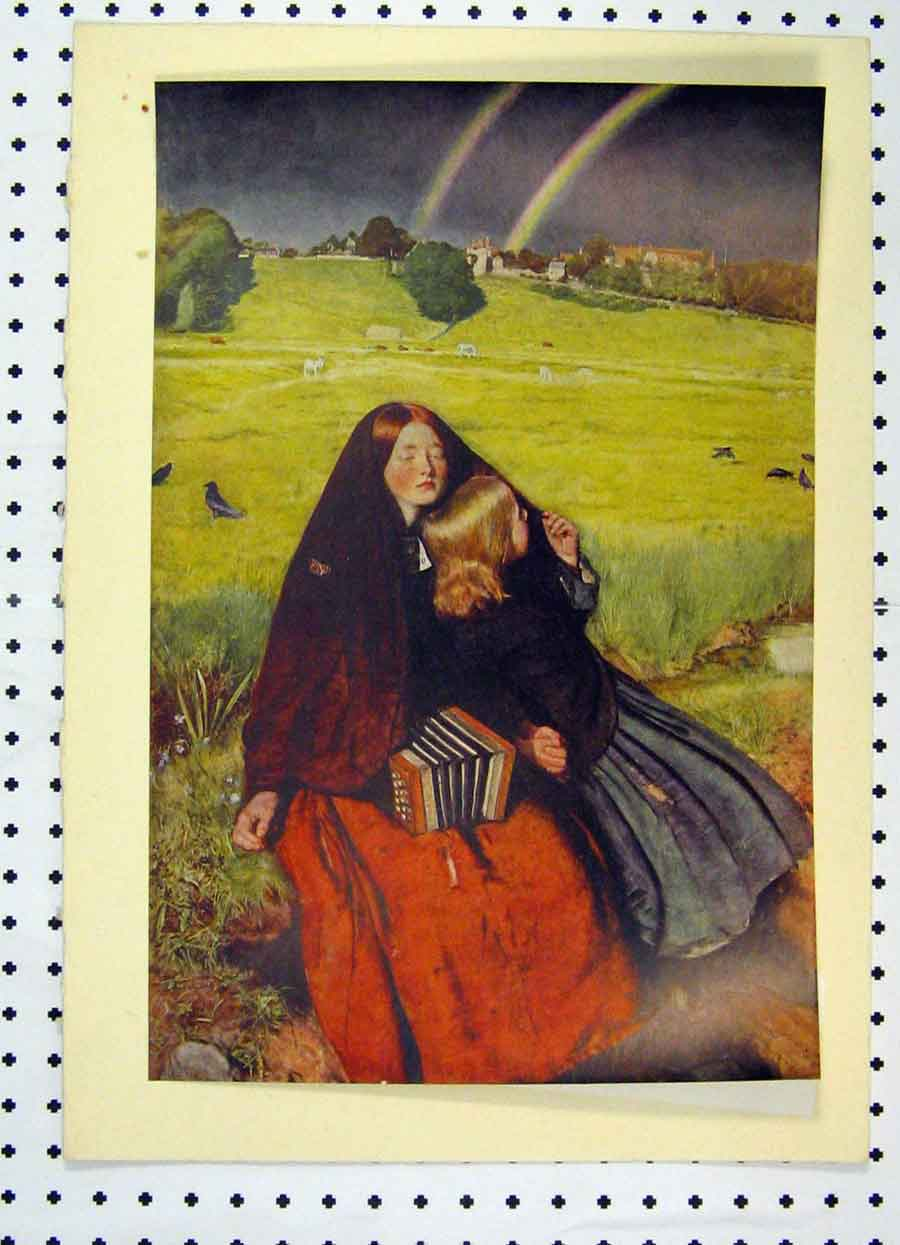 Print 1934 Colour Blind Girl Rainbow Country Field 195A119 Old Original