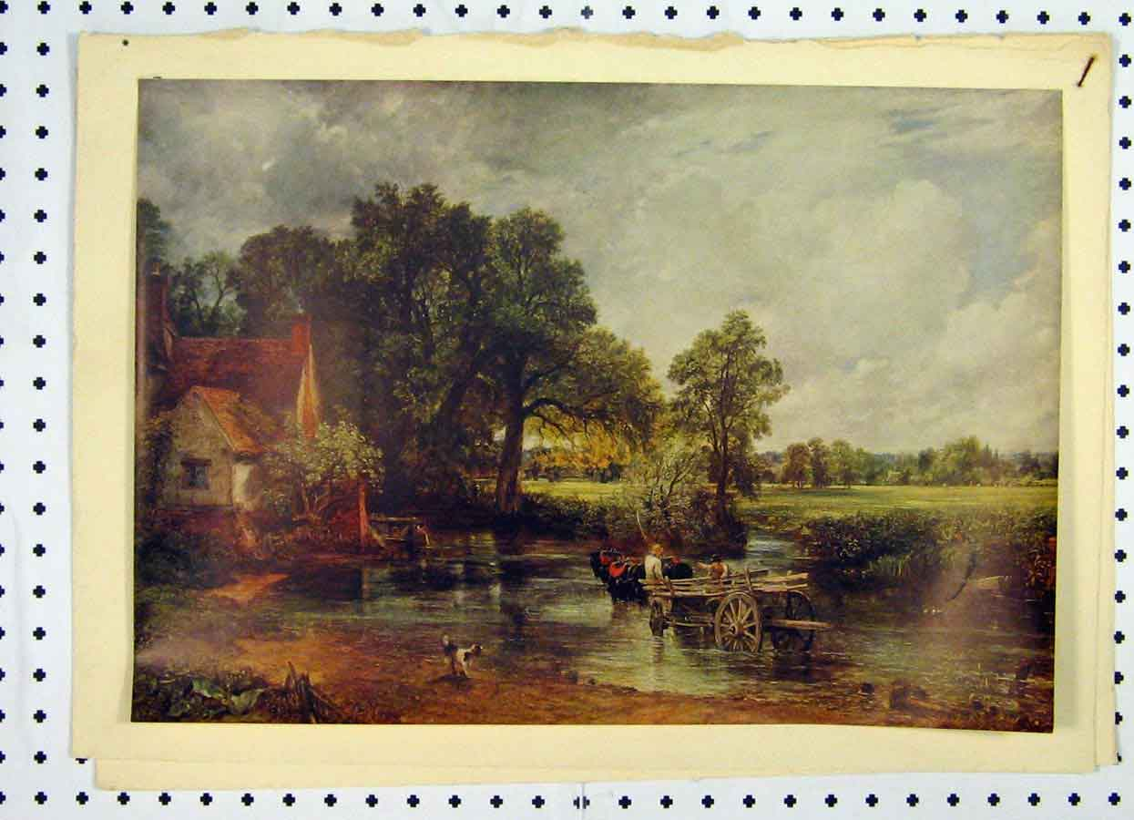 Print Colour 1934 Country Scene Horse Cart Water 210A119 Old Original