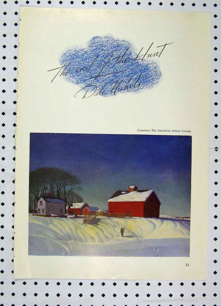 Print Colour Snow Scene Houses America 222A119 Old Original