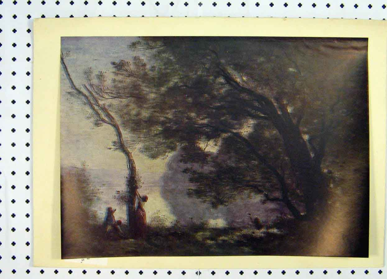 Print Landscape Country Scene Trees Lake Camille Corot 223A119 Old Original