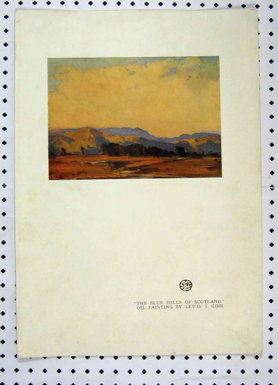 Print Colour View Blue Hills Scotland Oil Paiting Lewis Gibb 225A119 Old Original