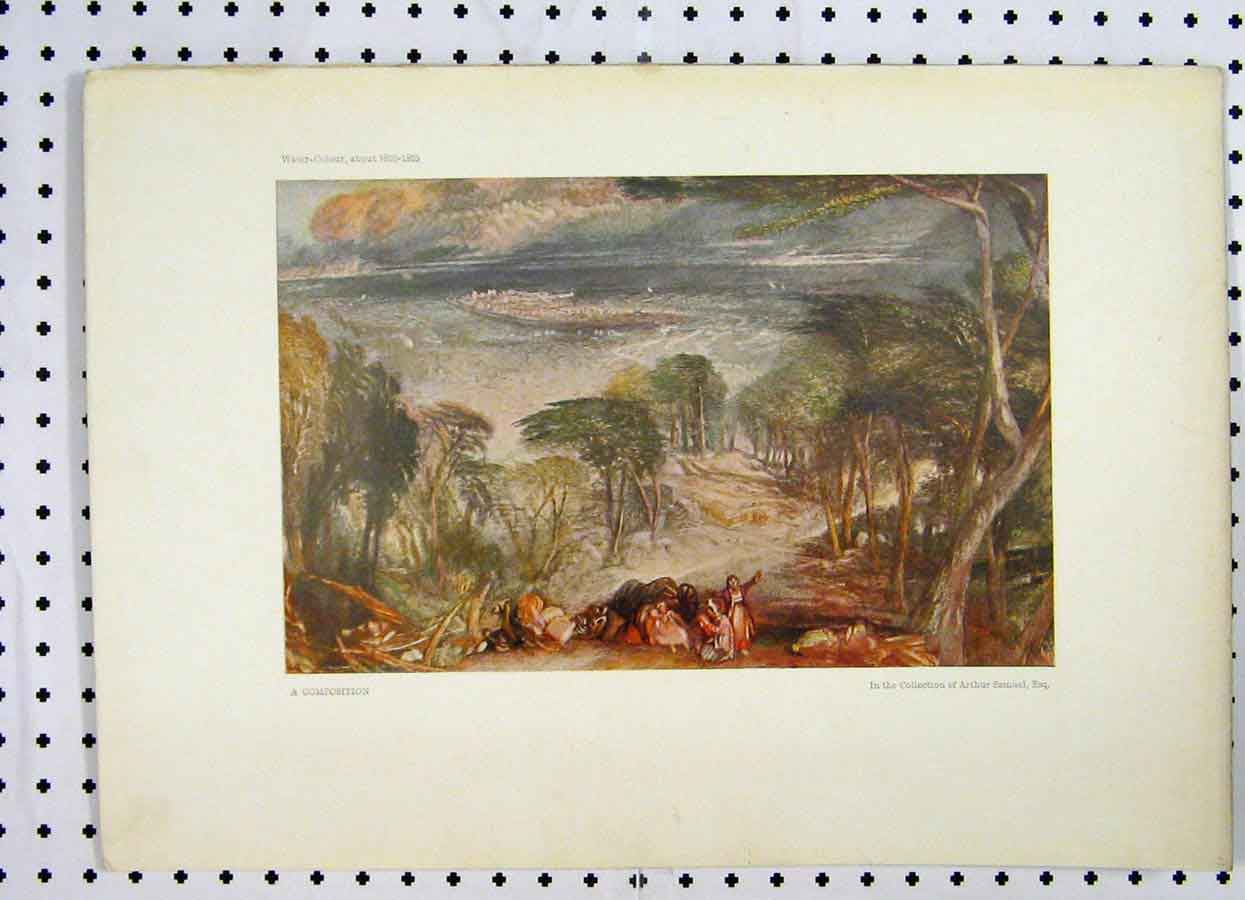 Print Country Scene Water Colour Arthur Samuel Turner 235A119 Old Original
