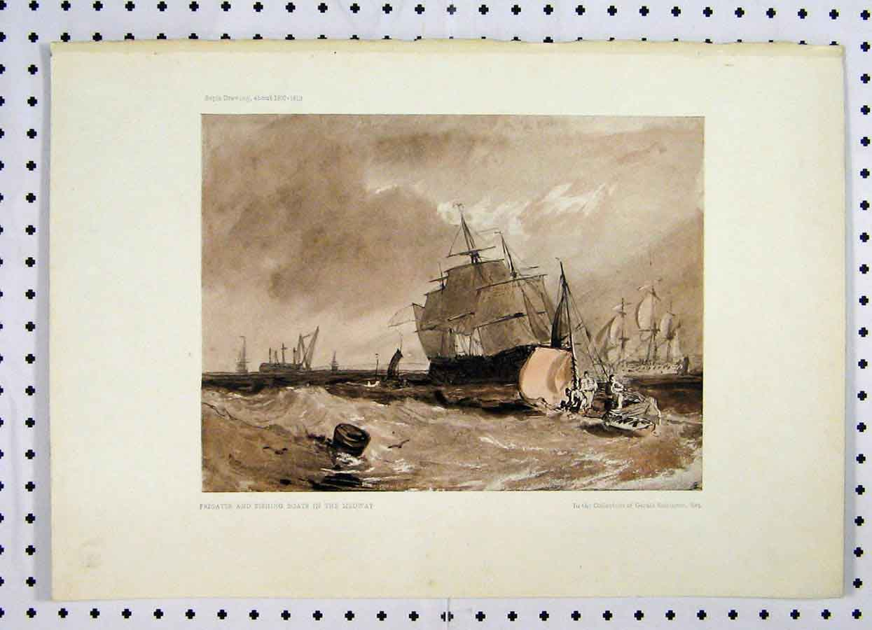 Print Water Colour Sepia Frigates Fishing Boats Medway 236A119 Old Original