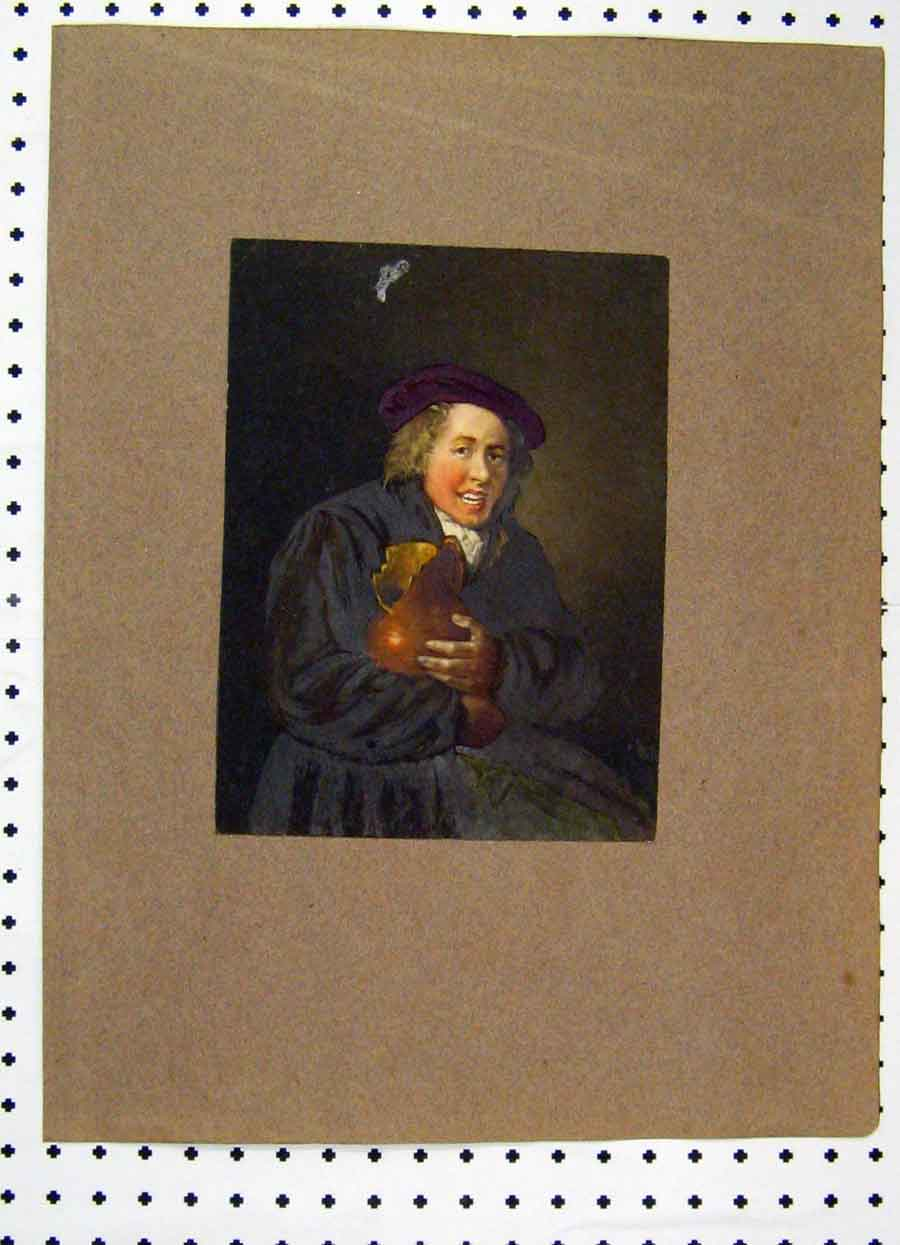 Print Colour Portrait Man Broken Jug Purple Berry Hat 247A119 Old Original