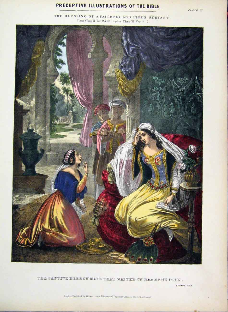 Print Illustrations Bible 1870 Captive Hebrew Maid Colour 312A122 Old Original