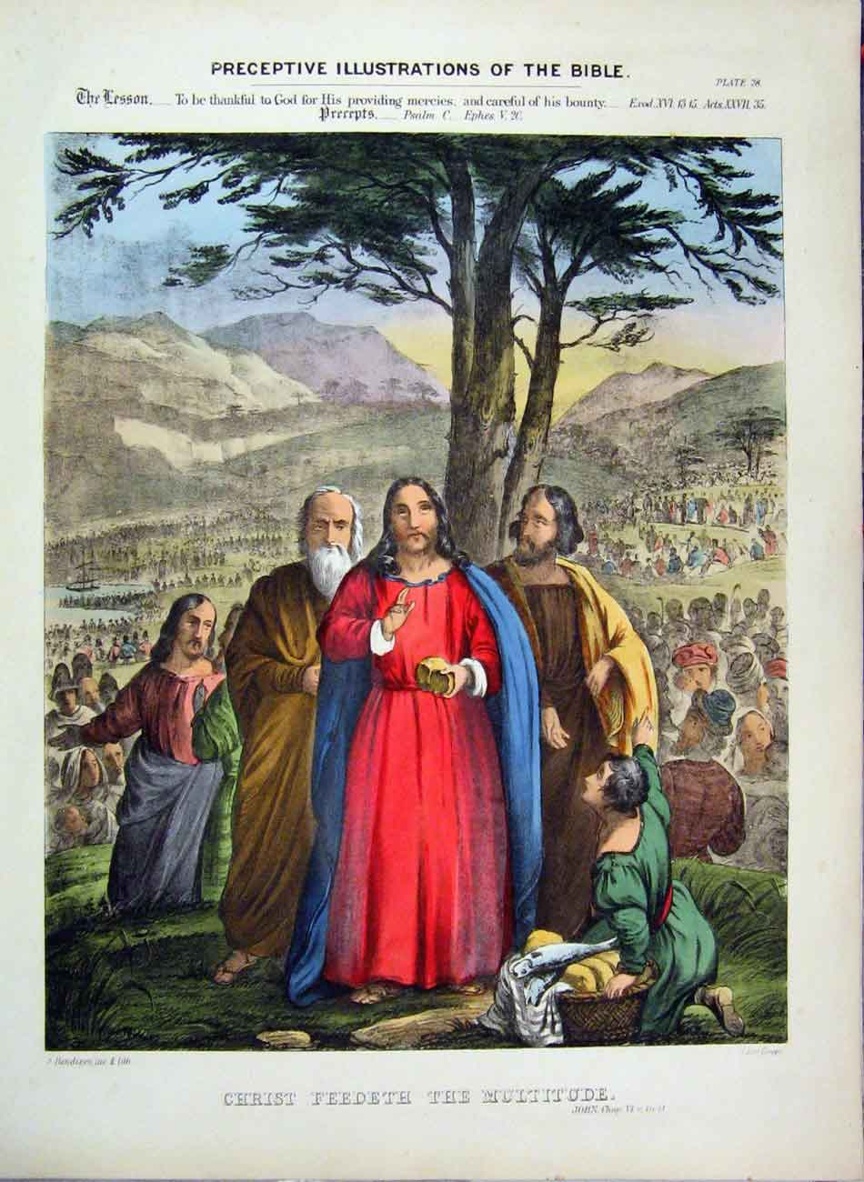 Print 1870 Illustrations Bible Christ Feeding People Colour 315A122 Old Original