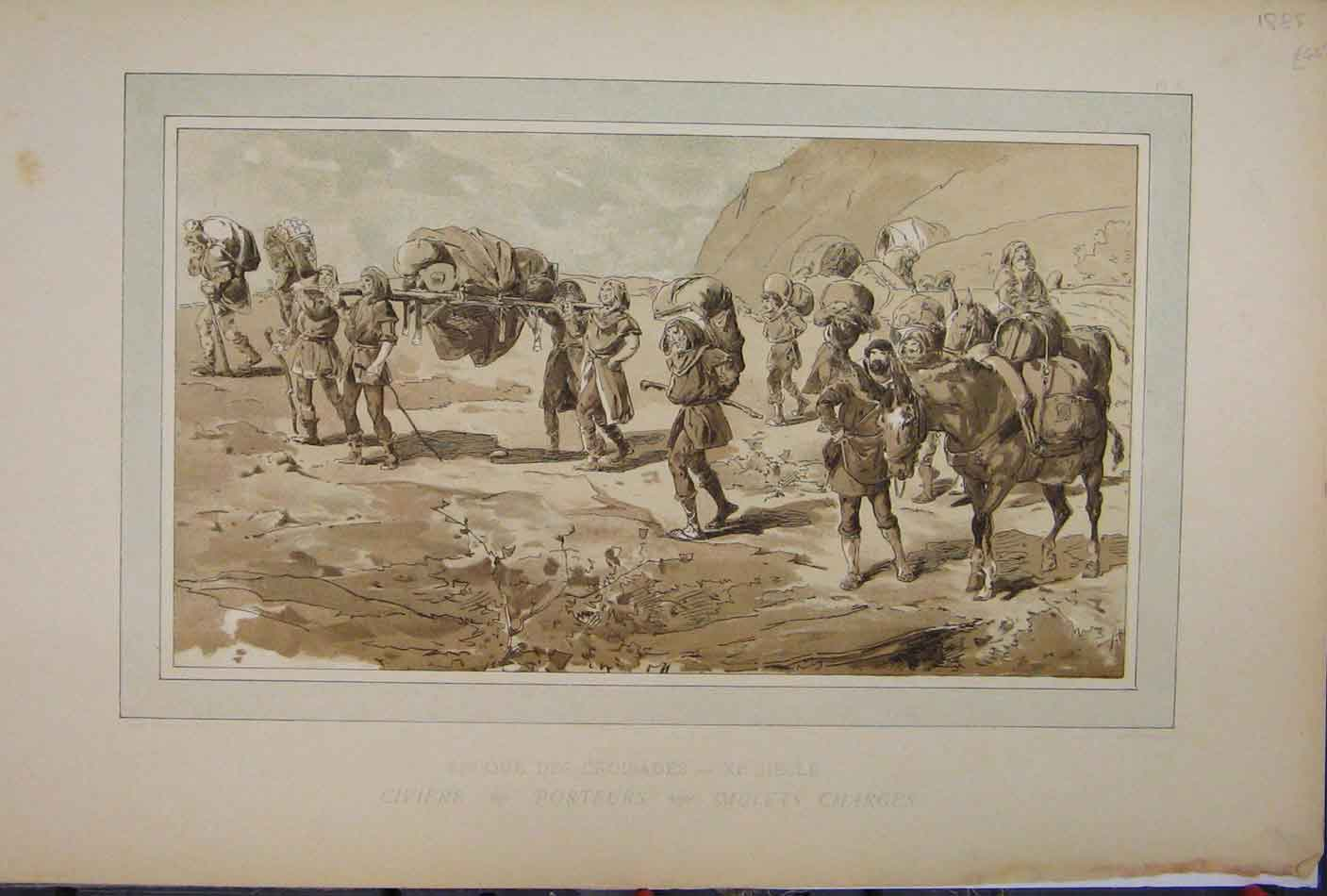 Print Brussells Exhibition 1885 Horses Mullets Chrges 203A123 Old Original