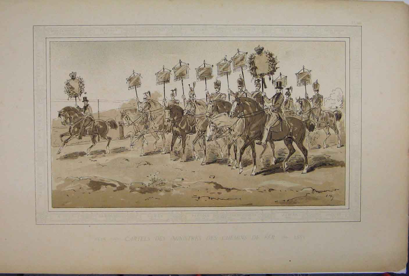 Print 1885 Brussells Exhibition Horses Soldiers March 205A123 Old Original