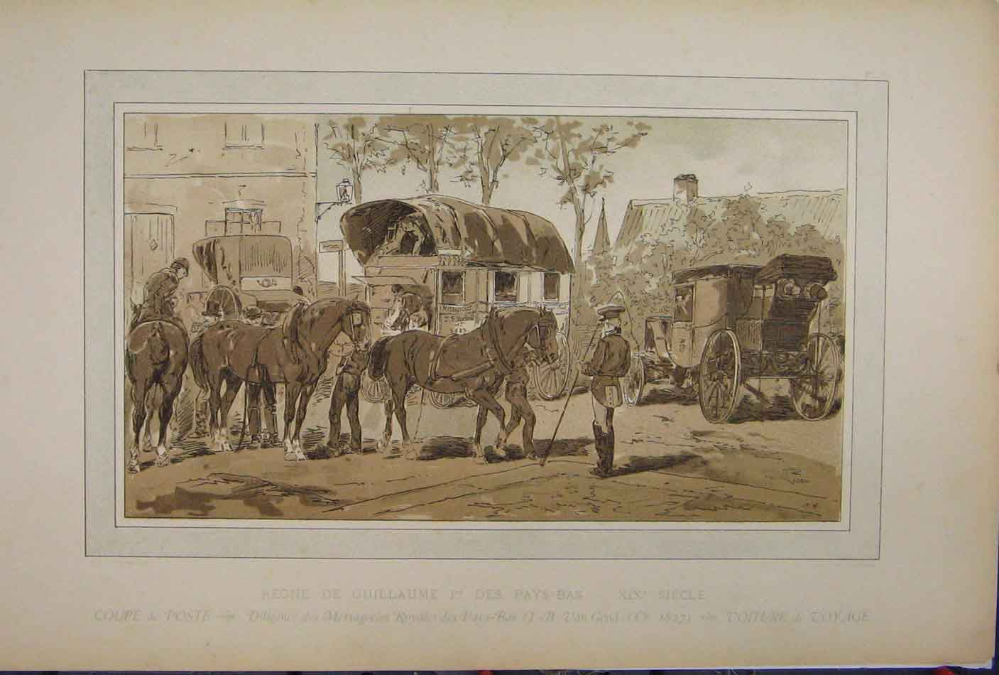 Print Horse Coach Transport 1885 Brussells Exhibition 208A123 Old Original