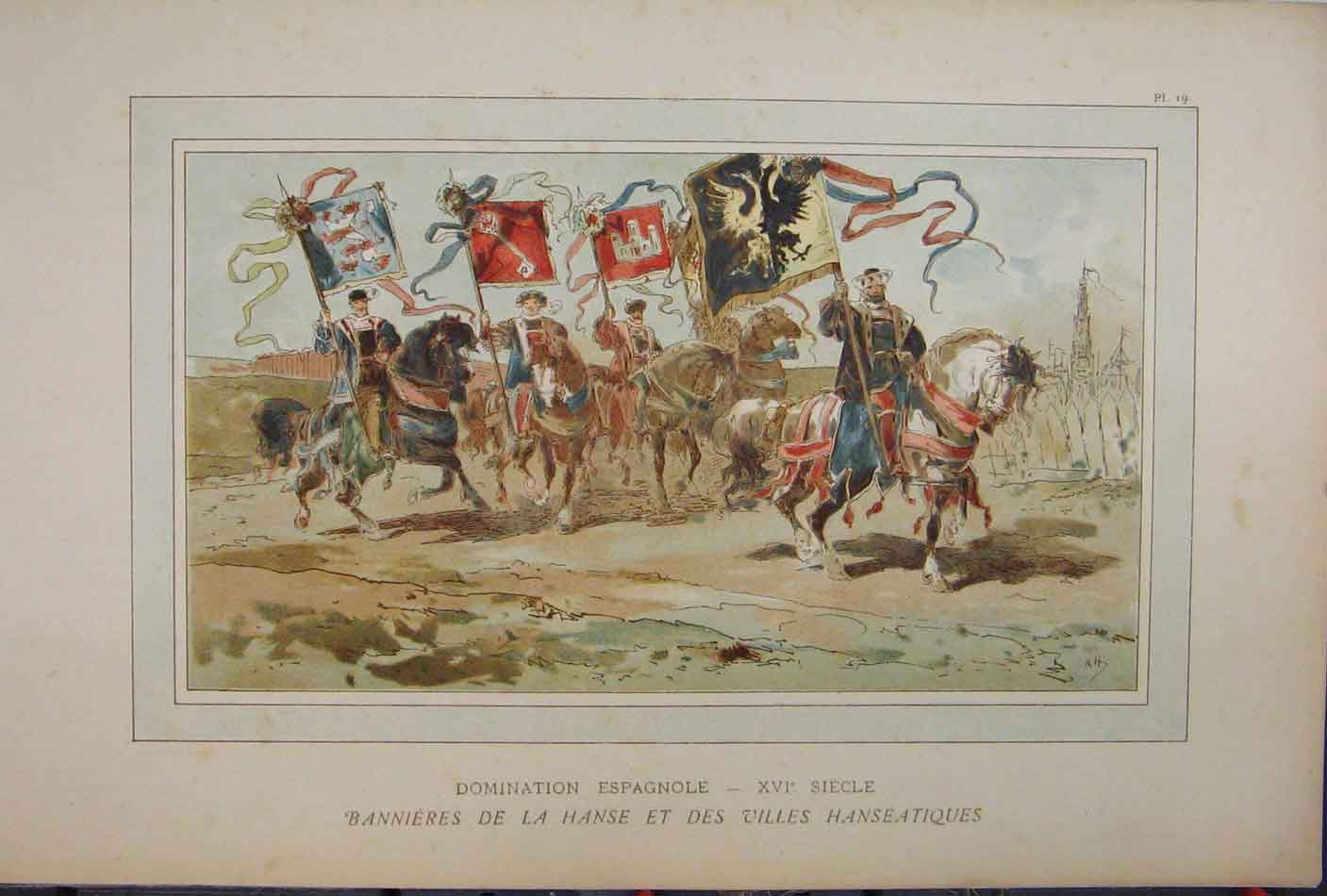 Print Colour 1885 Royal Horses Flags Brussells March 211A123 Old Original