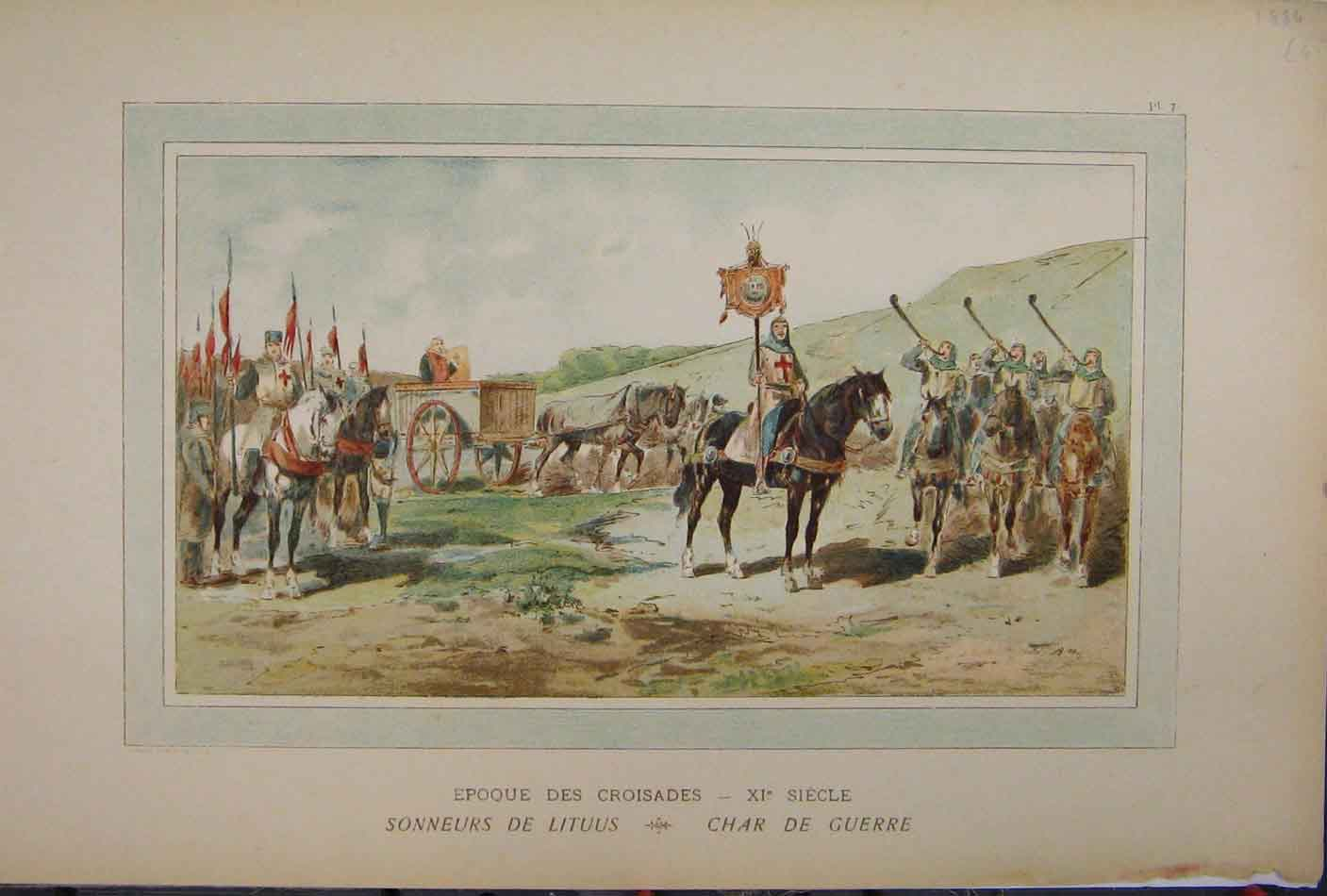 Print Colour 1885 Horse Cart Soldiers Flag Brussells 212A123 Old Original