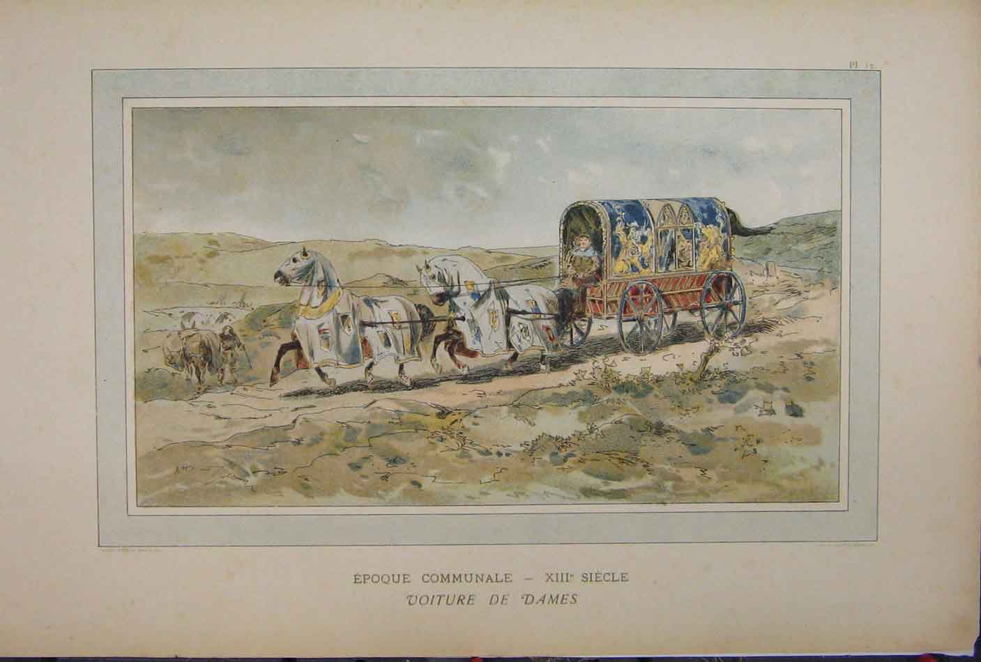 Print Colour 1885 Brussells Exhibition Horses Carriage 219A123 Old Original