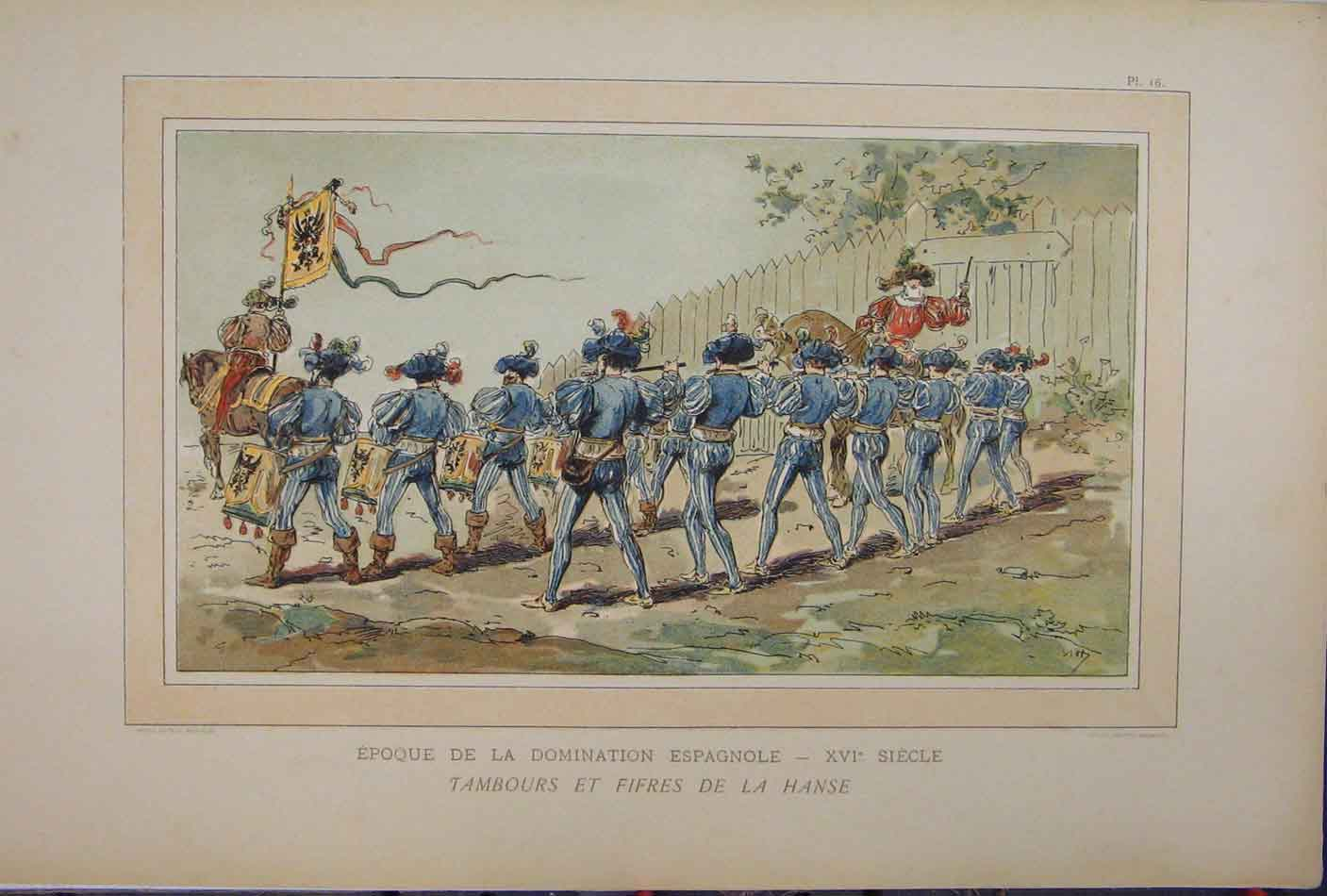 Print Colour 1885 Soldiers Marching Drums Horse Music 223A123 Old Original