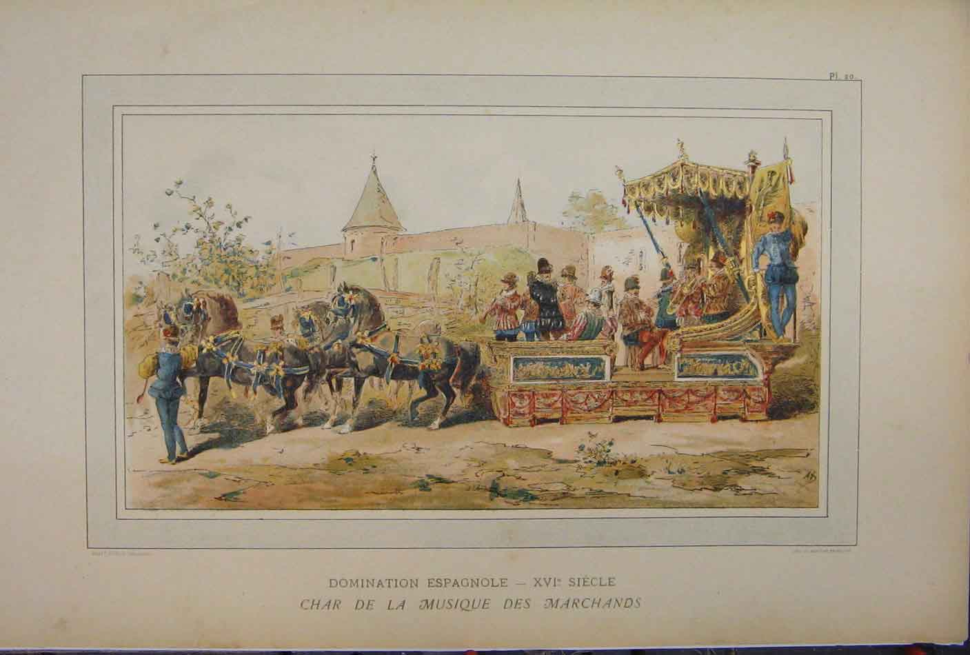 Print Colour 1885 Horse Chariot Transport Brussells 224A123 Old Original