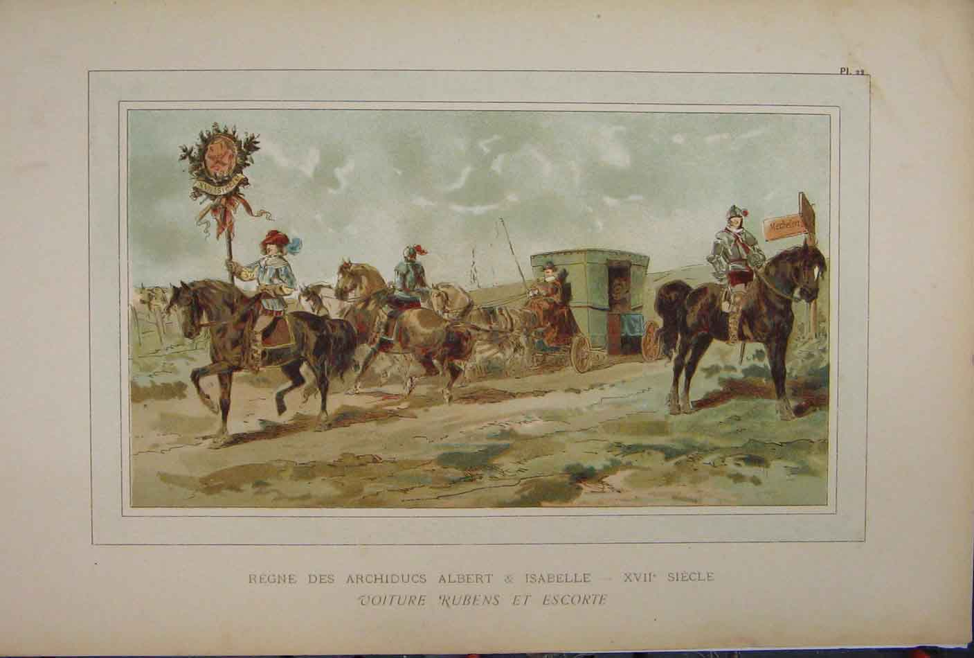 Print Horses Carriage Albert Isabelle 1885 Colour March 226A123 Old Original