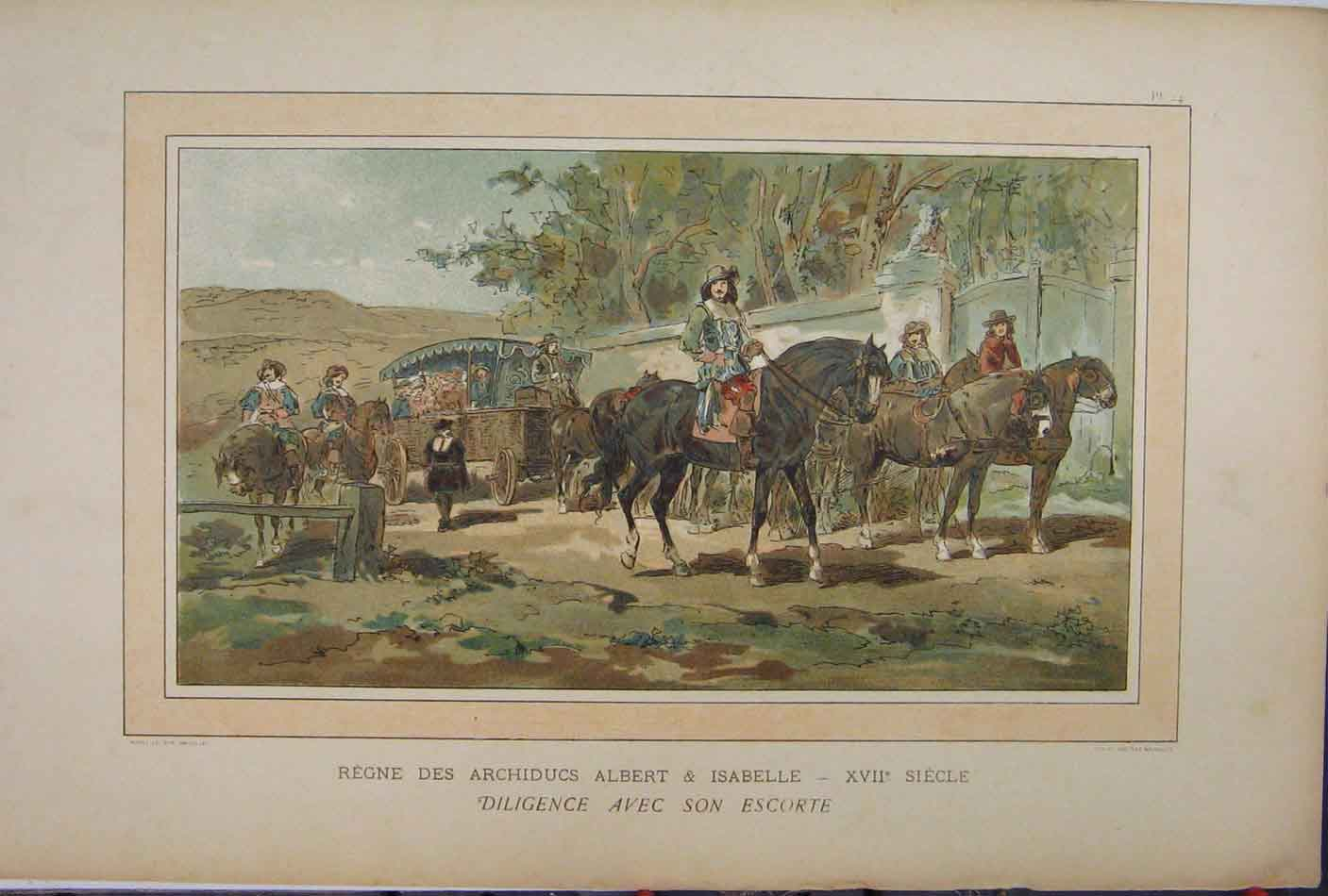 Print 1885 Colour Horses Carriage Albert Isabelle Trees 228A123 Old Original