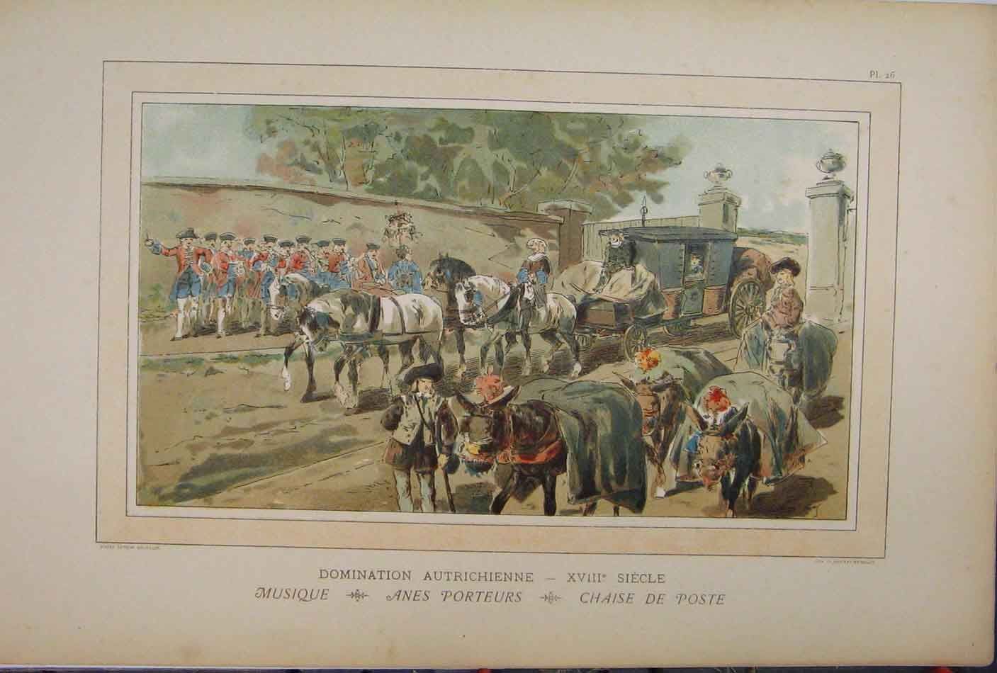 Print 1885 Horses Carriage Soldiers Transport Brussells 229A123 Old Original