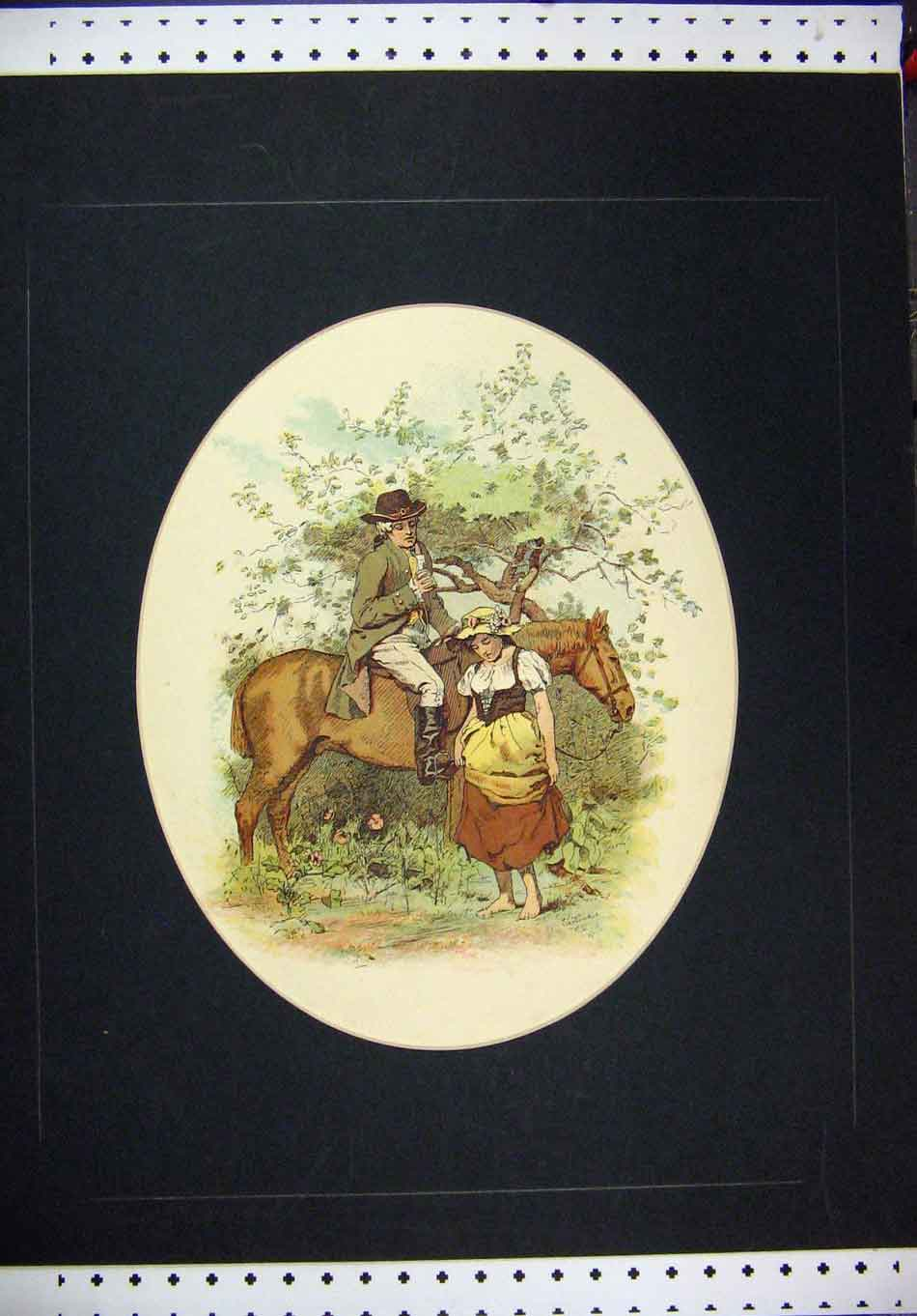 Print Colour Man Horse Woman Romance Country Scene 302A126 Old Original