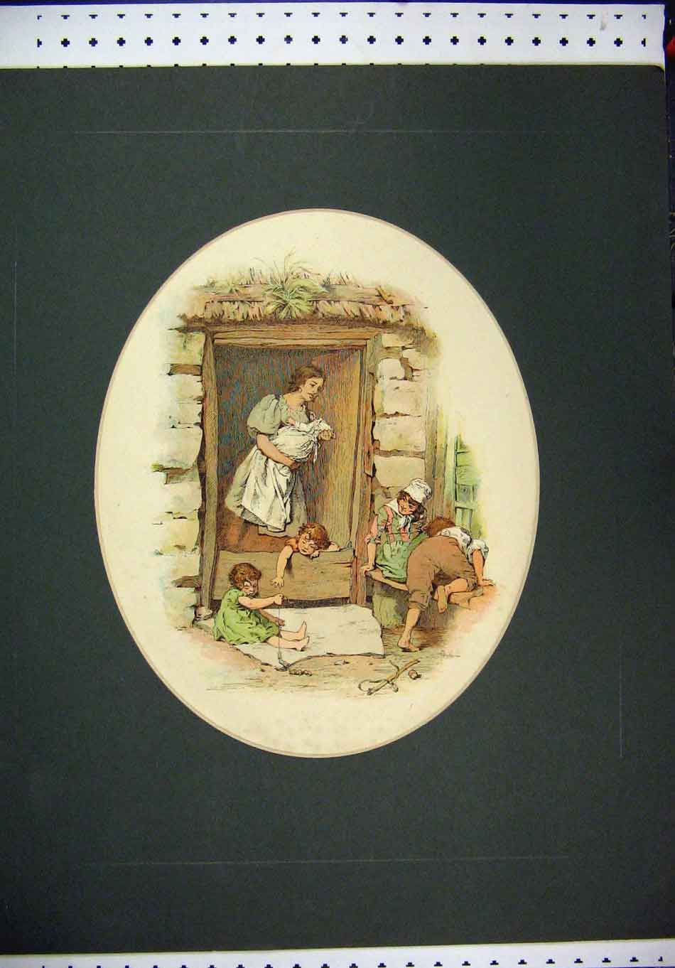 Print Hand Coloured Woman Children Playing Door House 304A126 Old Original