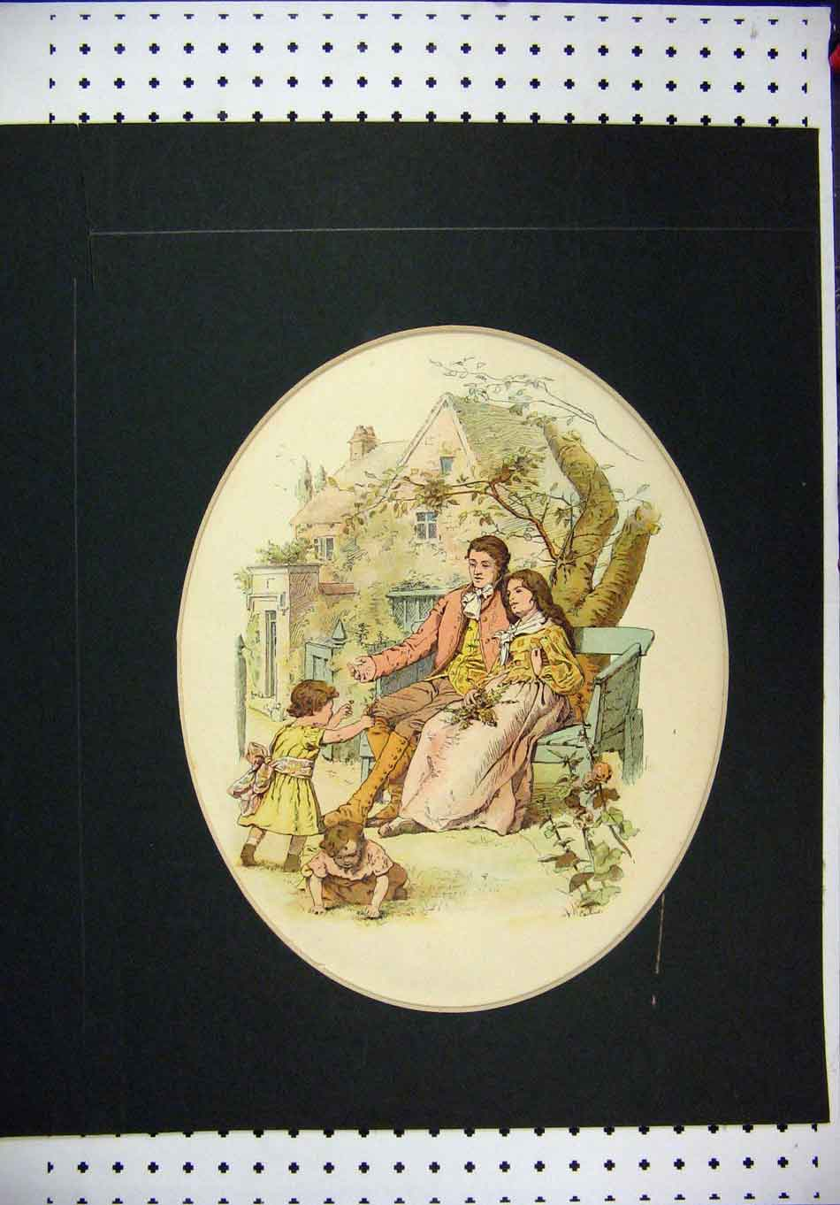 Print Hand Colored Man Woman Children Romance Trees 308A126 Old Original