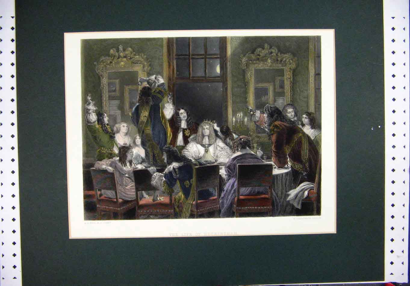 Print Mounted Colour Buckingham Dinner Time Greatbach 321A126 Old Original