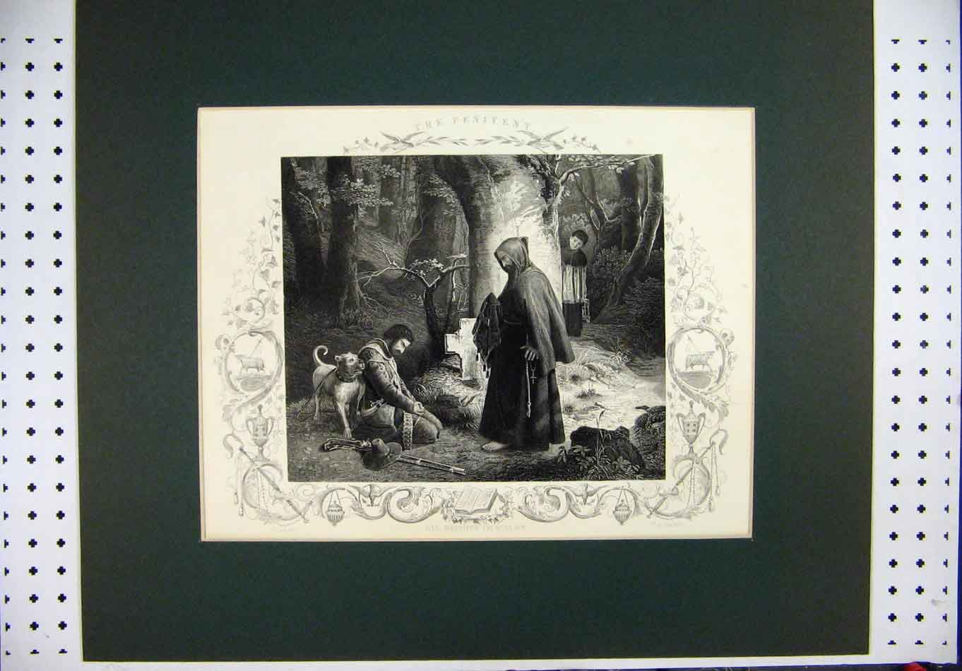 [Print Engraving Country Scene Lessing Payne Monk Boy Man Dog 325A126 Old Original]