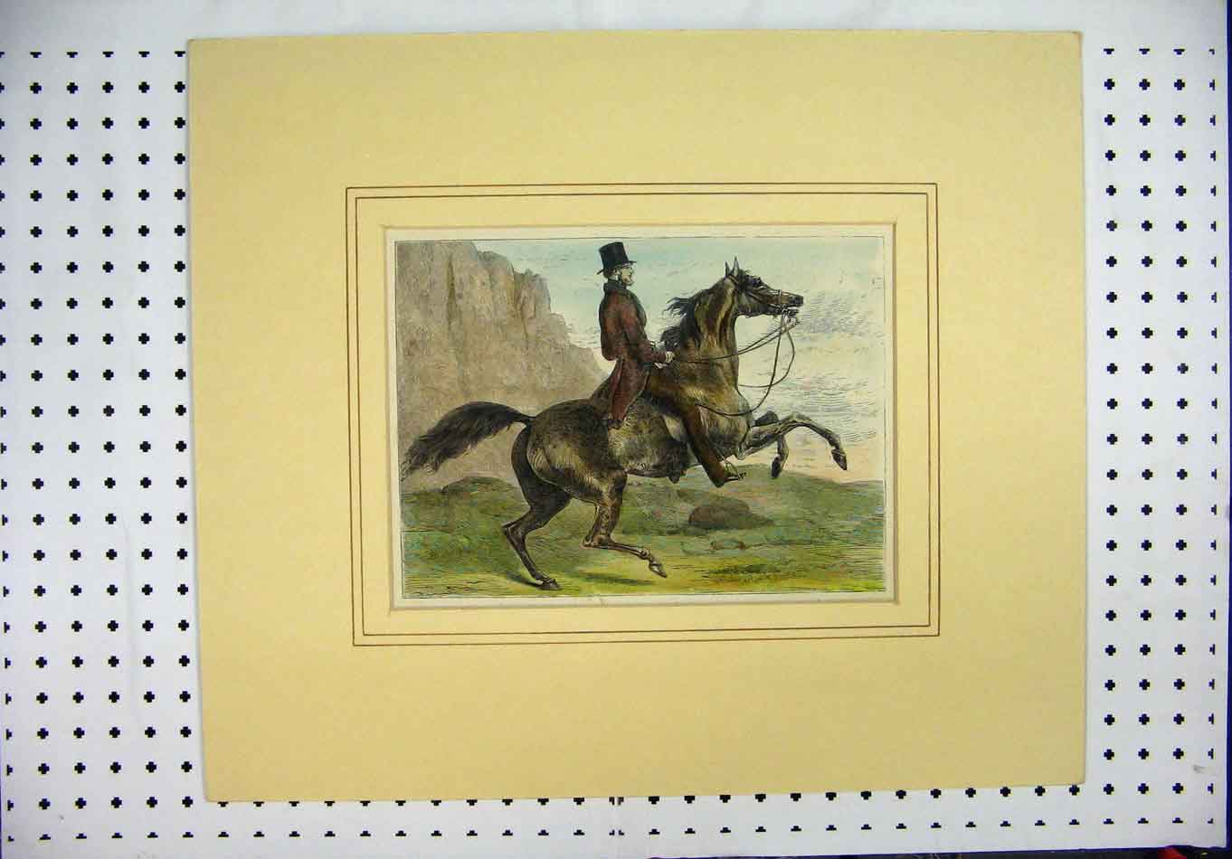 Print Colour C1880 Country Scene Man Horse Mountains 354A126 Old Original