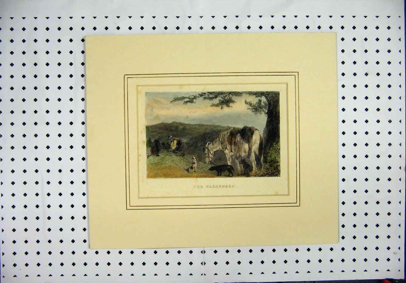 [Print C1850 Mounted Country Scene Men Horse Dogs 363A126 Old Original]
