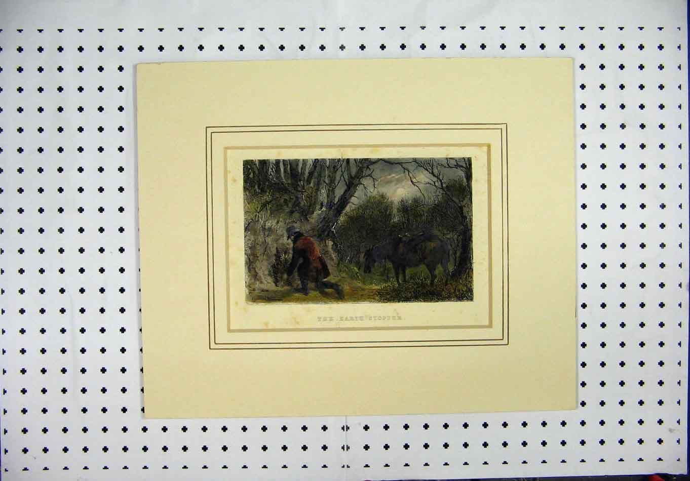 Print Mounted C1850 Country Scene Man Horse Fire Rock 364A126 Old Original