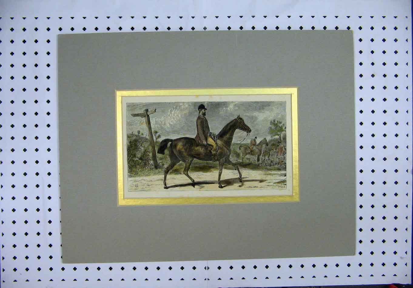 Print C1880 Man Riding Horse Hunting Country Lane Colour 370A126 Old Original