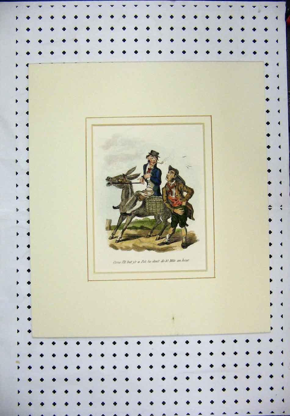 Print C1840 Country Men Donkey Basket Smoking Pipe Colour 384A126 Old Original