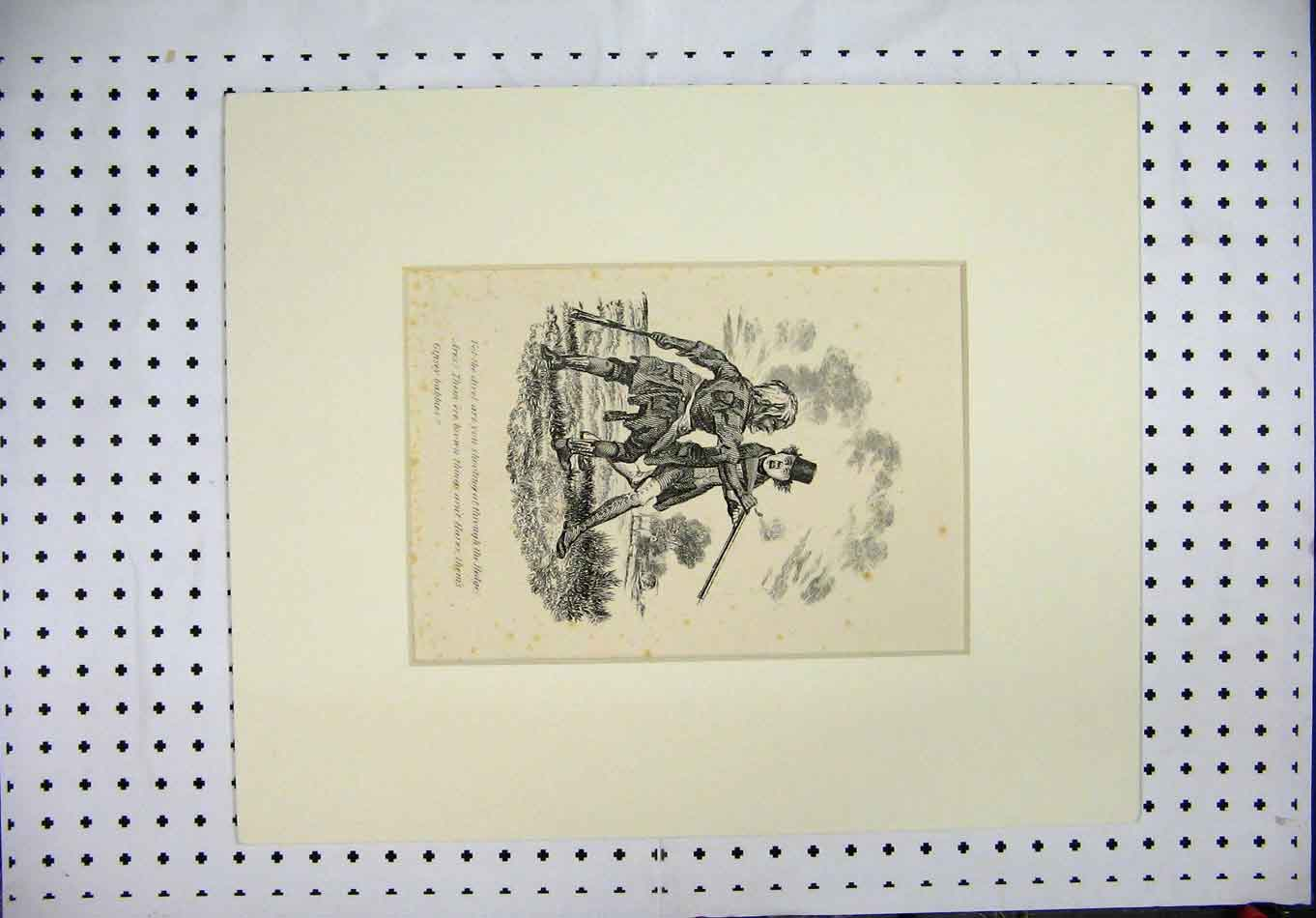 Print C1840 Country Men Shooting Rifle Country Scene 385A126 Old Original