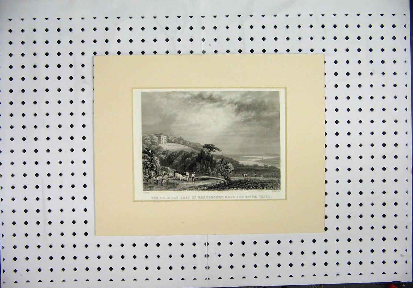 Print Engraving Country Seat Rhederoord River Yssel Barber 119A127 Old Original