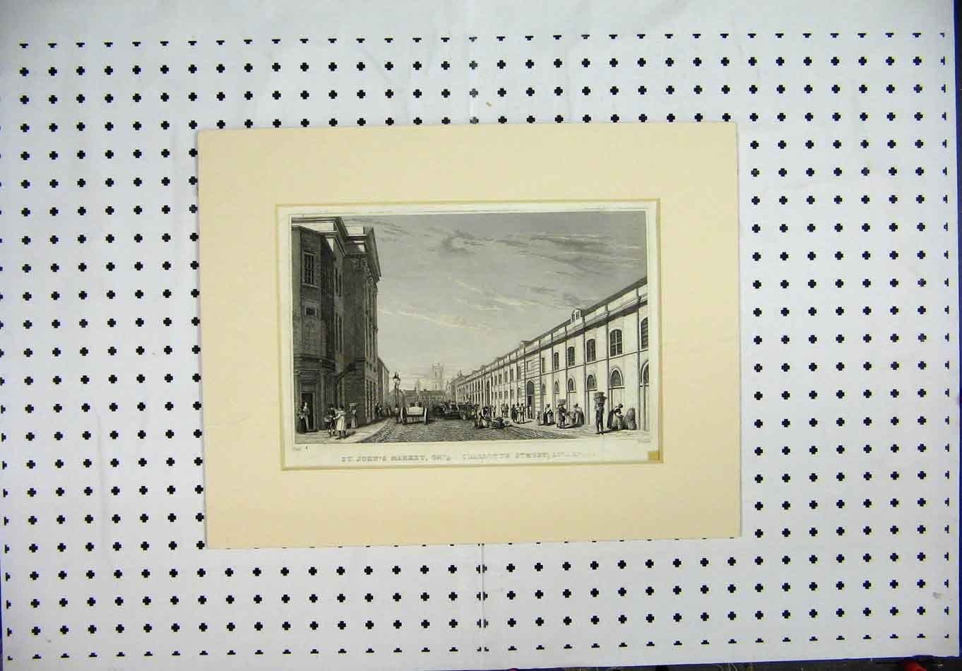 Print Engraving St Johns Market Charlotte Street Liverpool 121A127 Old Original