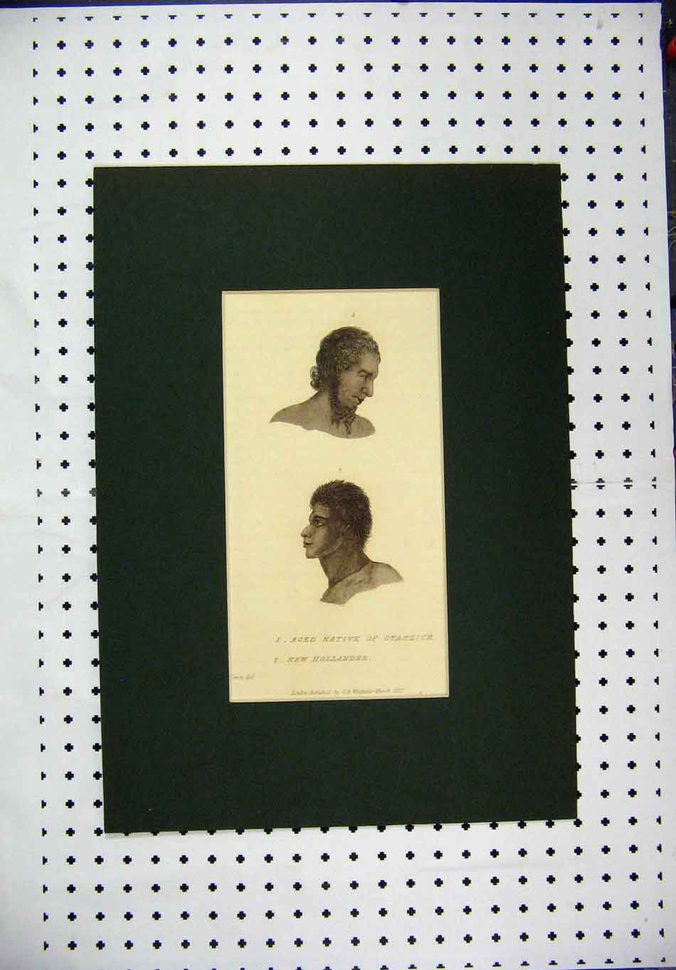 Print 1827 Hand Coloured Native Otaheite New Hollander Men 123A127 Old Original