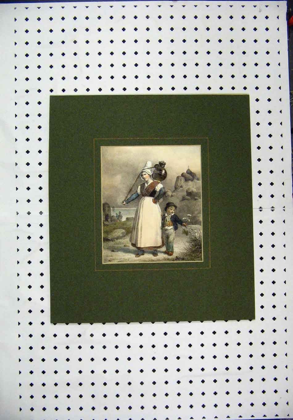 Print Hand Coloured C1850 Woman Water Carrier Young Boy 128A127 Old Original