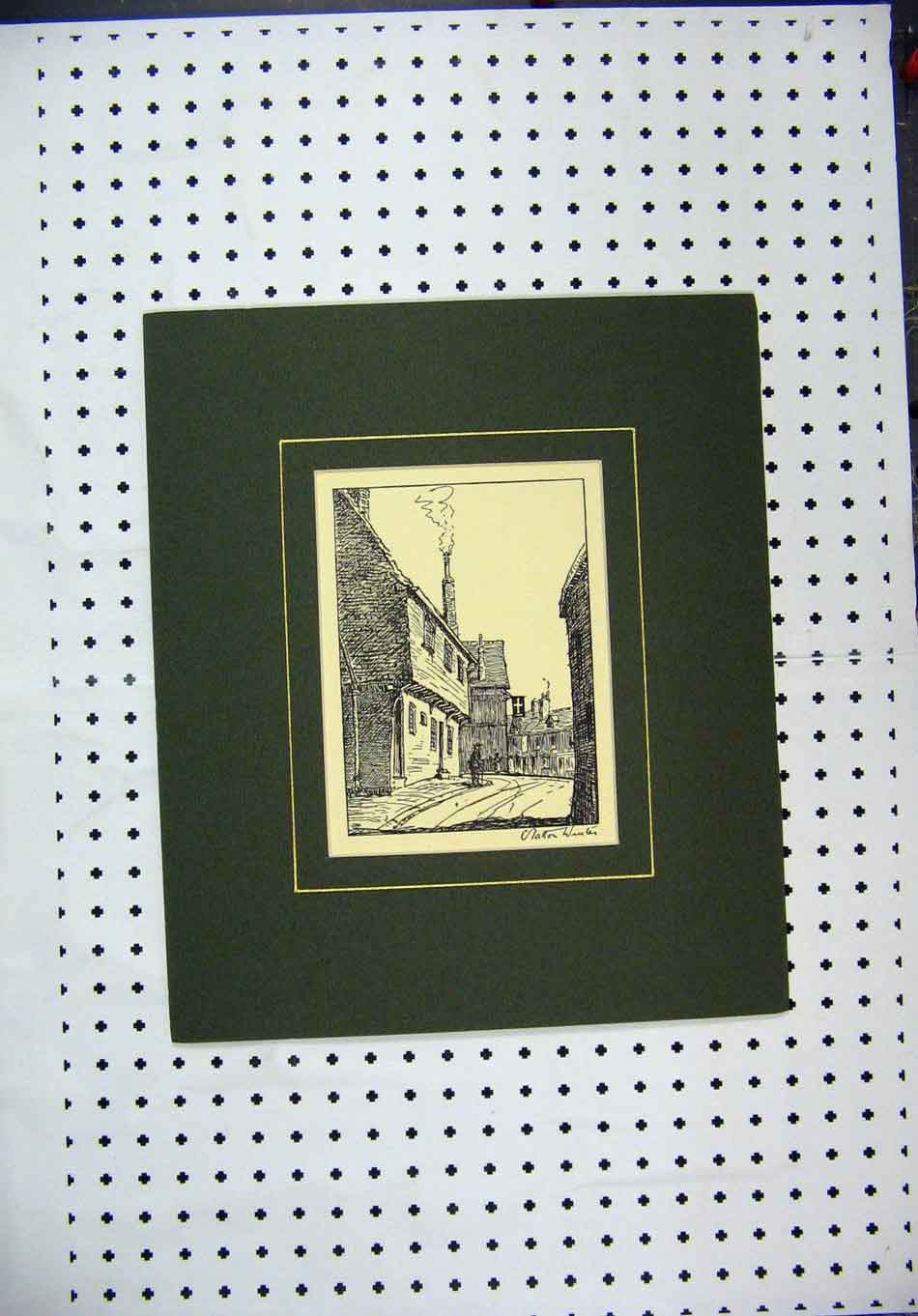 Print 1920 Street Scene Sketch Art 137A127 Old Original
