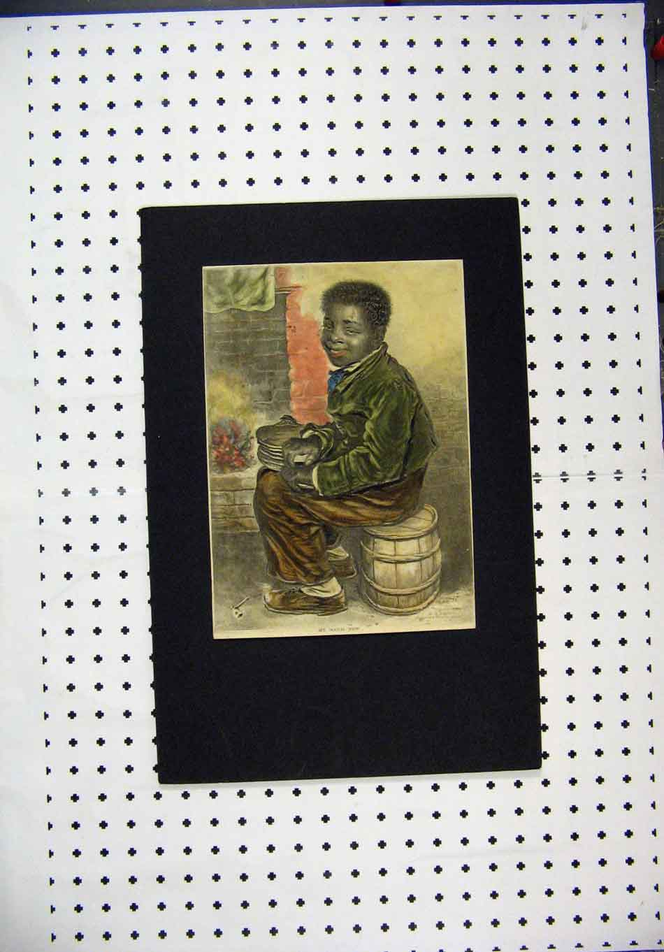 Print Hand Coloured Boy Sitting Barrel Bellows 141A127 Old Original