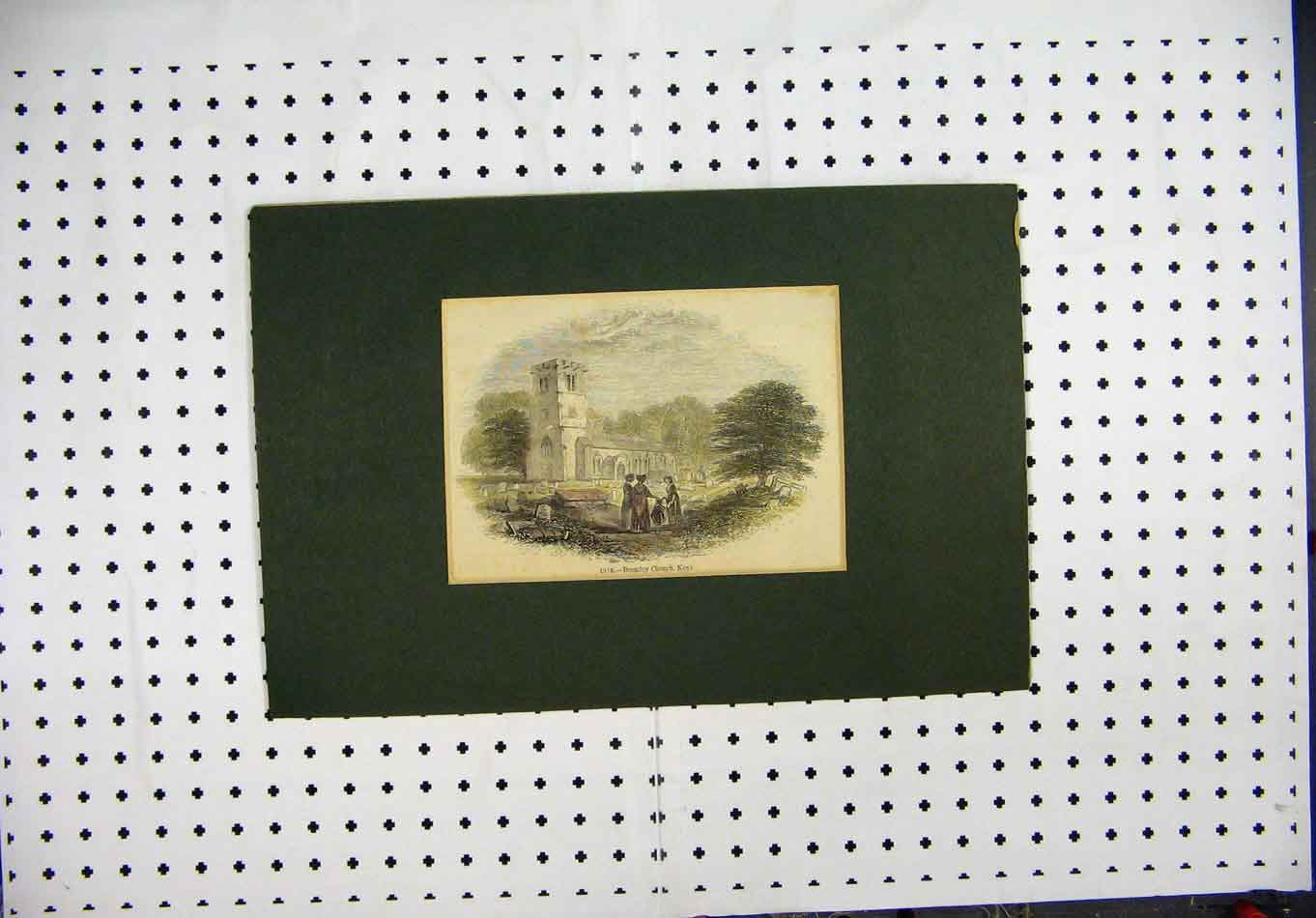 Print 1886 Hand Coloured Bromley Church Kent 149A127 Old Original
