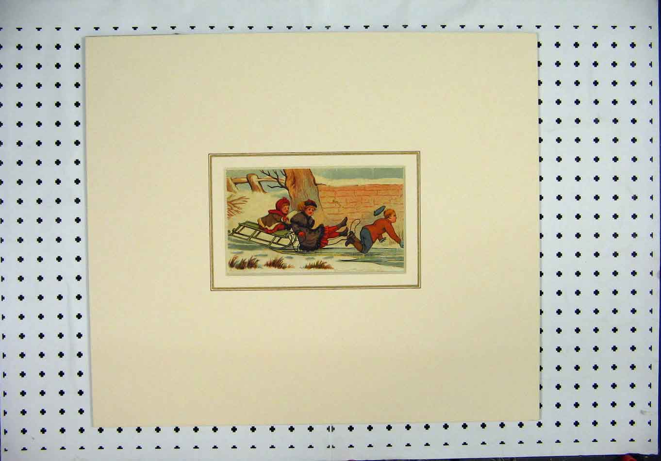 Print Colour Children Sledge Snow Falling Garden Wall 104A128 Old Original
