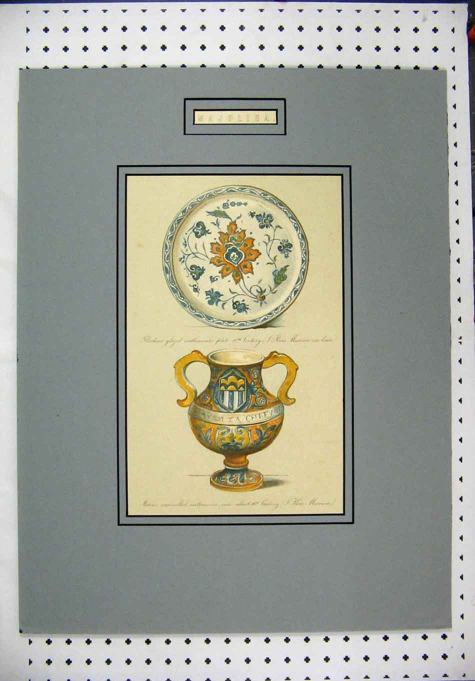 Print Cromolithograph C1885 Rhodian Plate Italian Jug Colour 111A128 Old Original