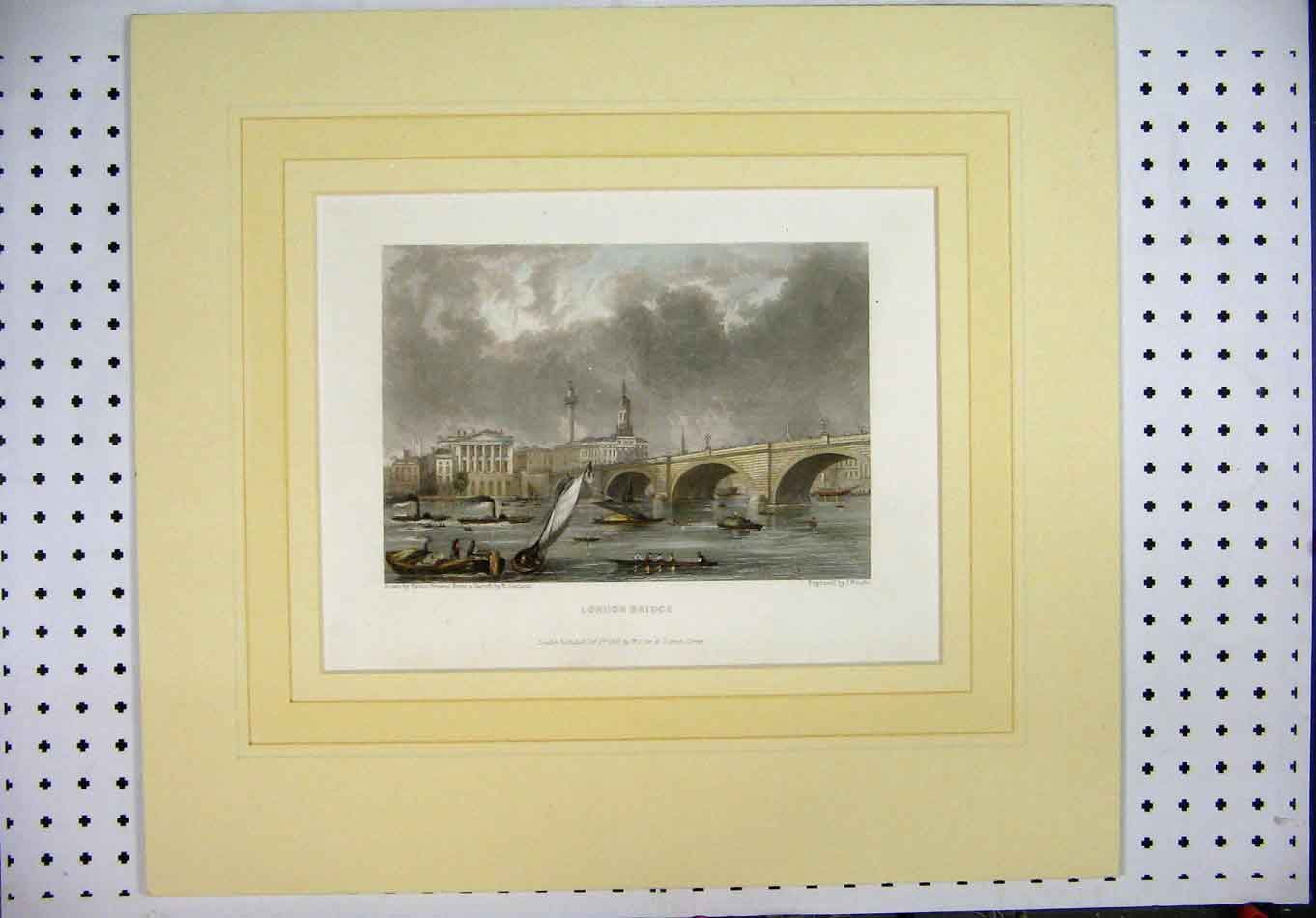 Print Hand Coloured London Bridge Garland Woods Boats River 112A128 Old Original