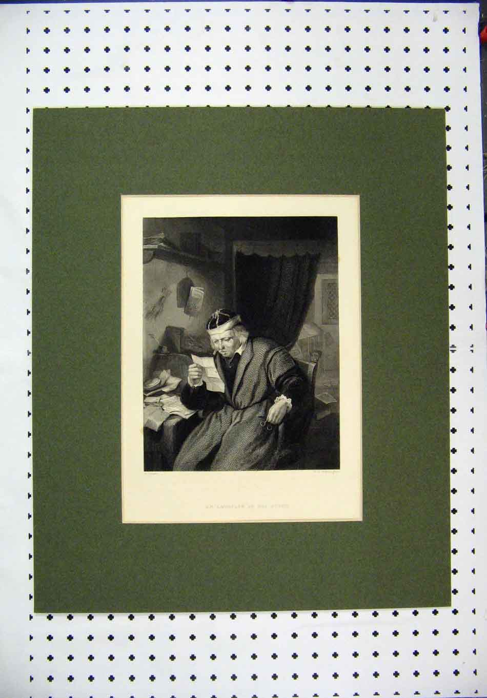 Print C1860 Engraving Worthington Advocate Study Reading 122A128 Old Original