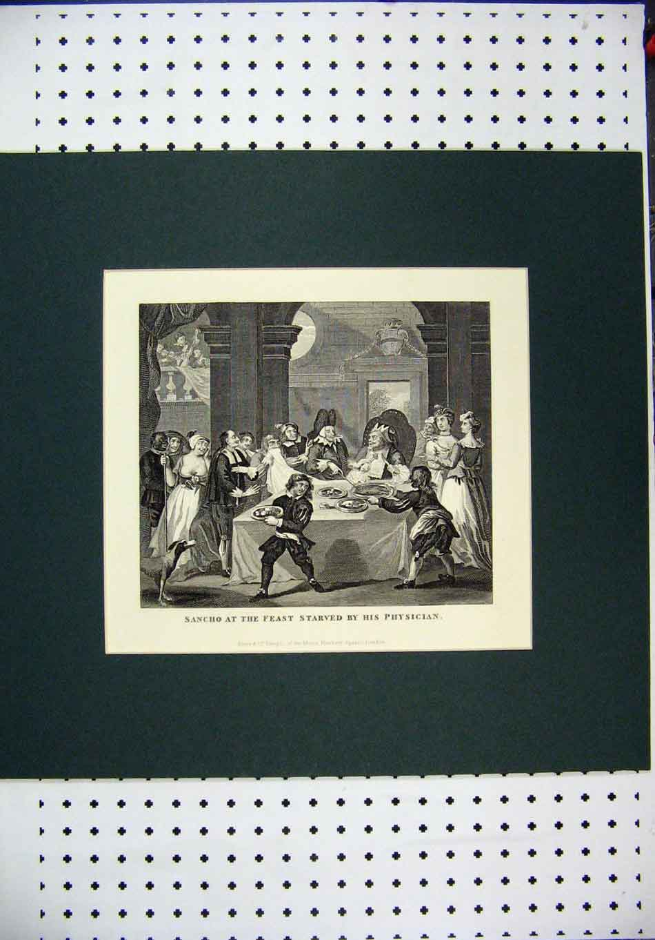 Print C1850 Engraving Sancho Feast Starved Physician Dinner 126A128 Old Original
