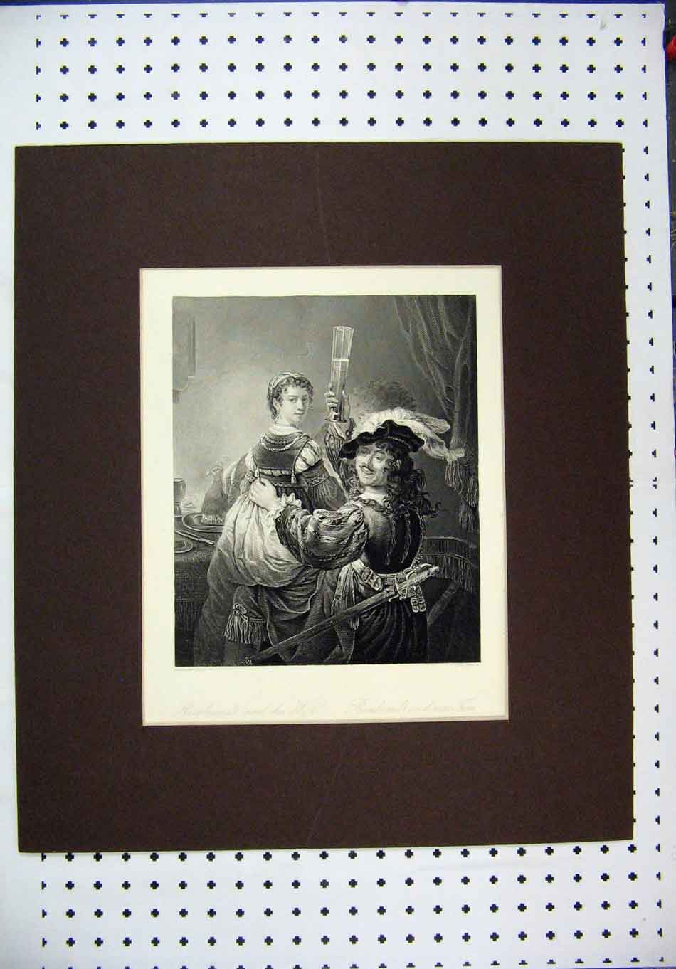 Print Engraving Rembrandt Wife Drinking Payne 128A128 Old Original