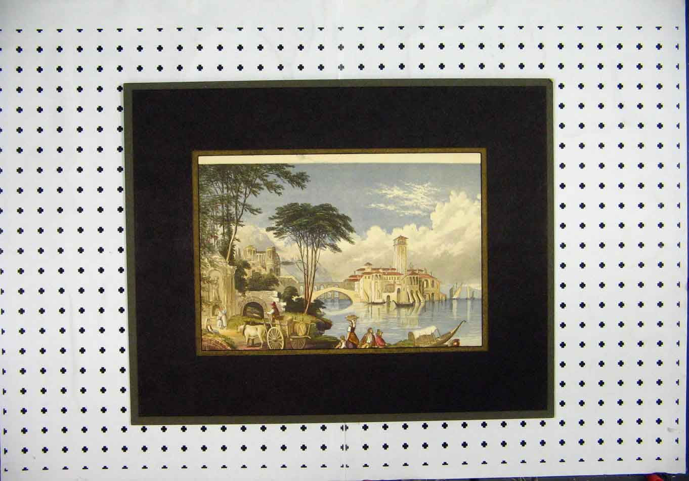Print Colour Village Scene Cow Cart Bridge Sea Boat 131A128 Old Original