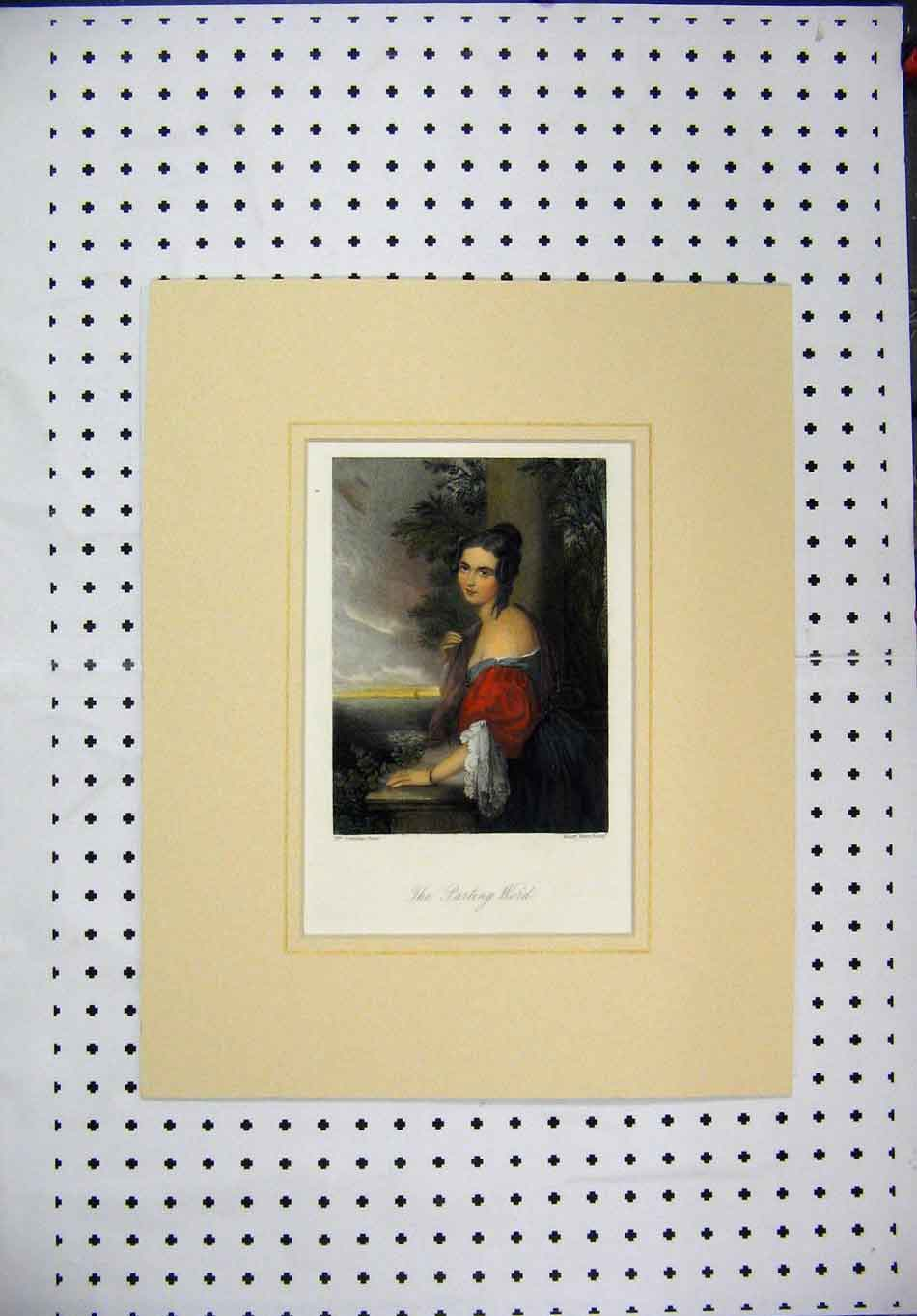 Print C1840 Colour Woman Balcony Barclay Brett Sea View 132A128 Old Original