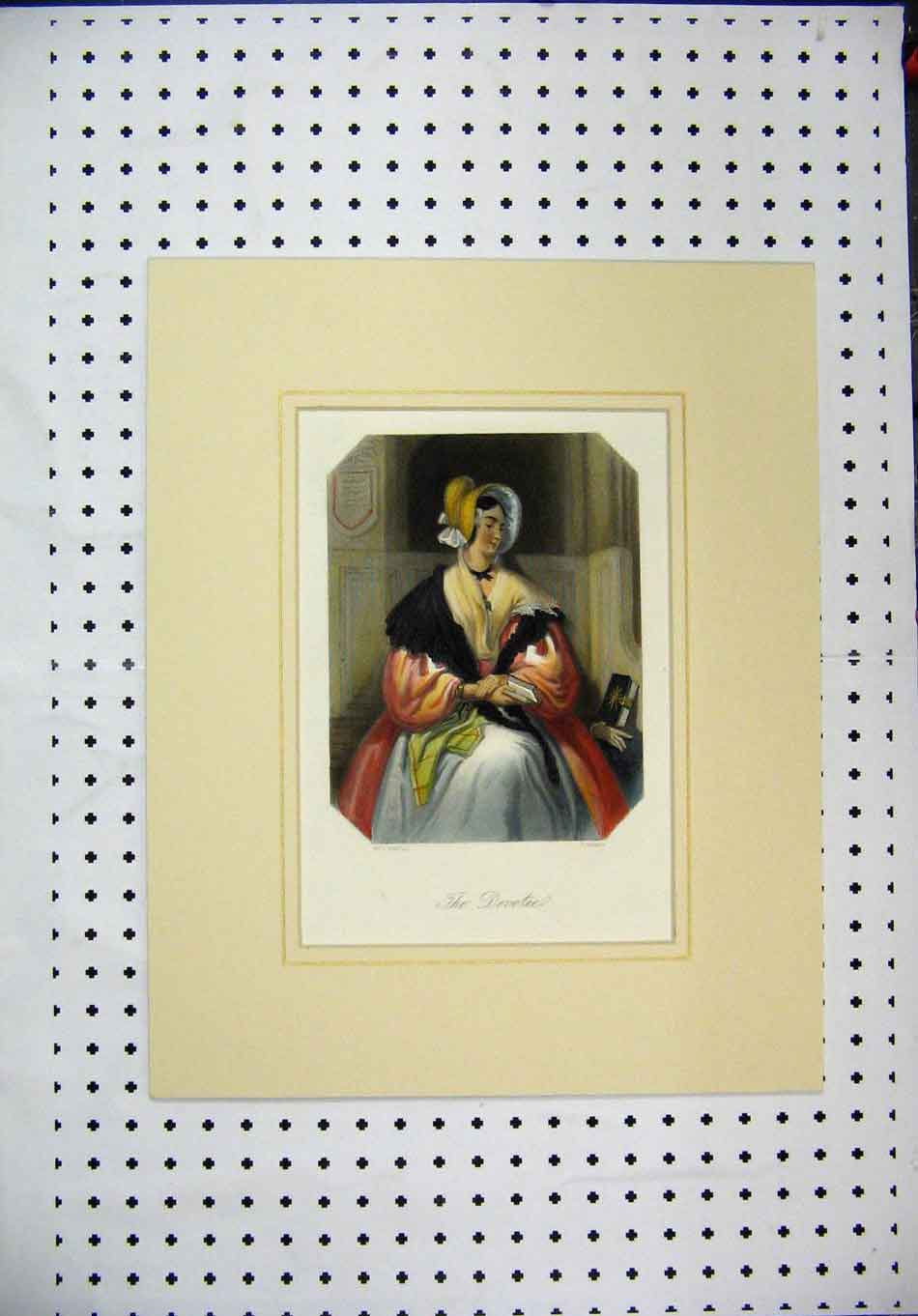 Print C1840 Colour Woman Book Hat Cloak Jenkins 133A128 Old Original